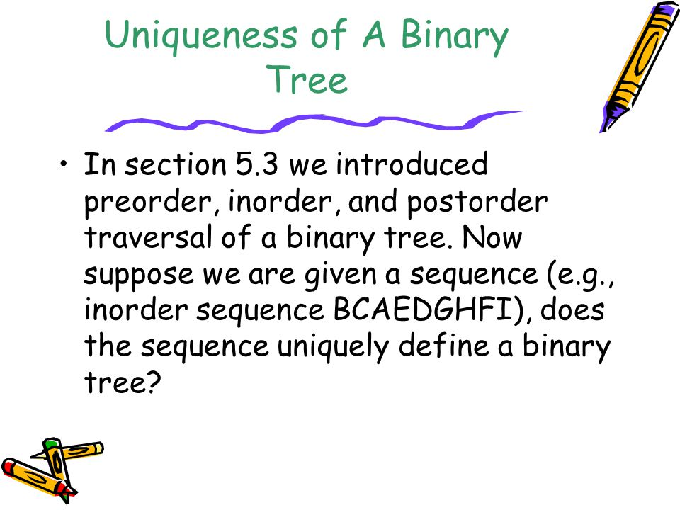 Uniqueness of A Binary Tree
