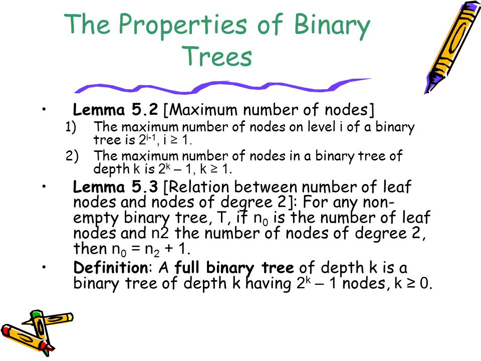 The Properties of Binary Trees