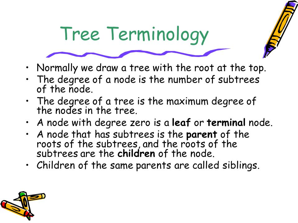 Tree Terminology Normally we draw a tree with the root at the top.