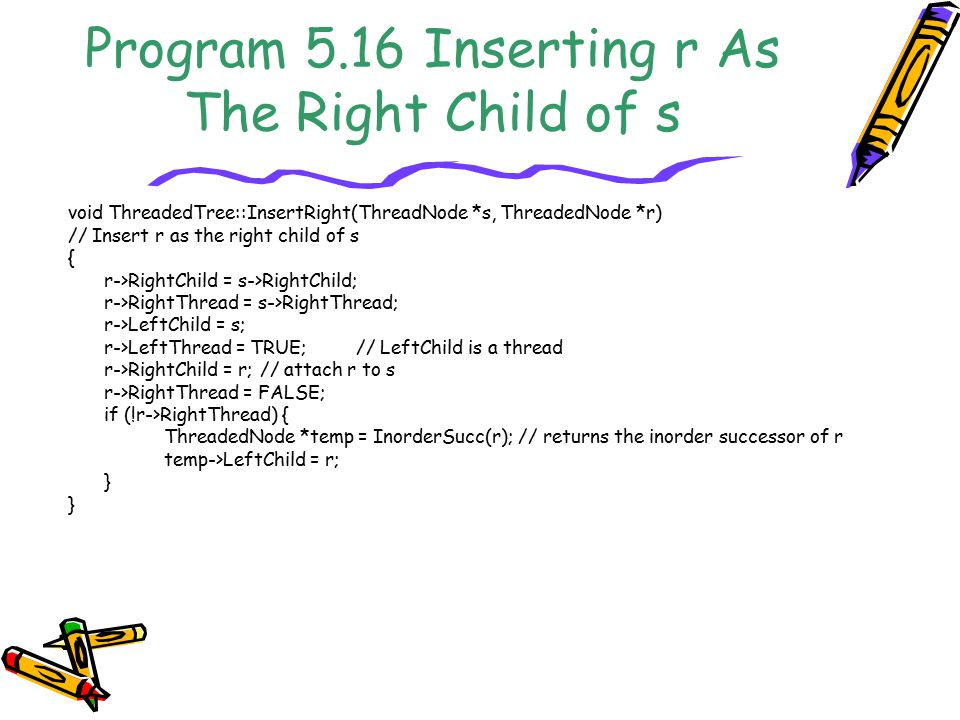 Program 5.16 Inserting r As The Right Child of s