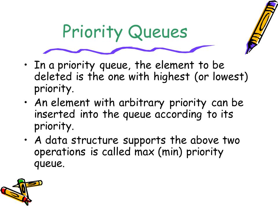 Priority Queues In a priority queue, the element to be deleted is the one with highest (or lowest) priority.