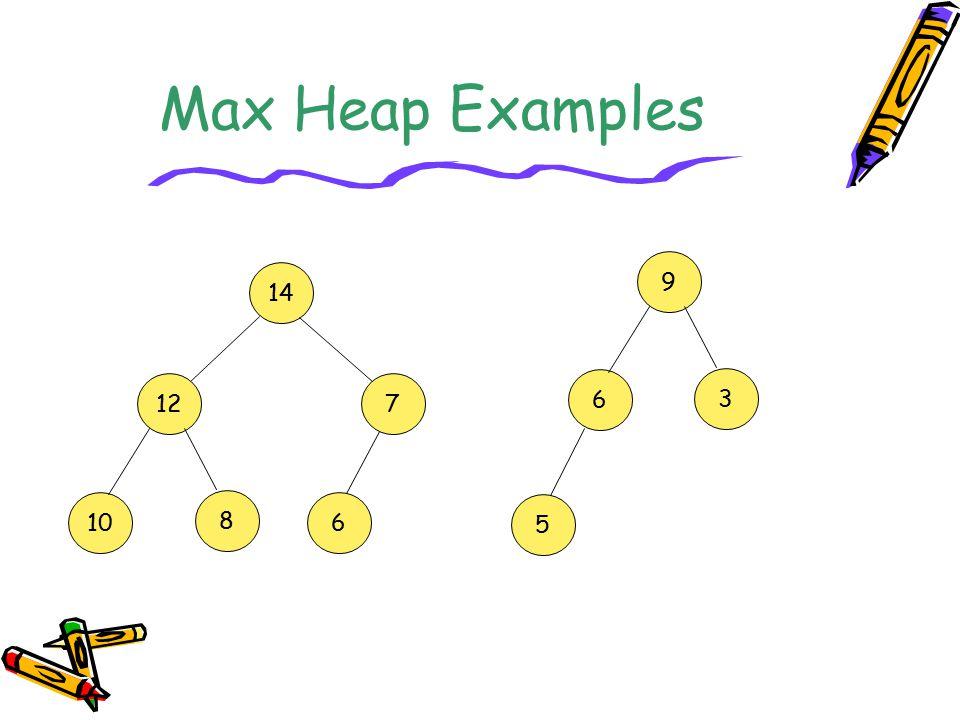 Max Heap Examples 9 14 12 7 6 3 10 8 6 5