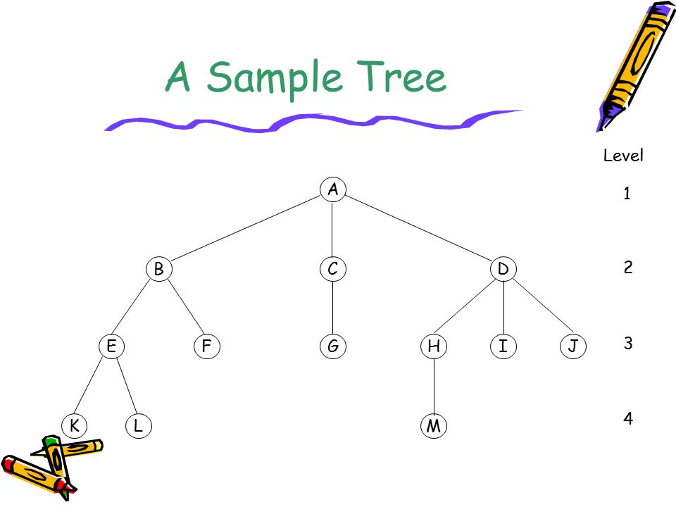 A Sample Tree Level A 1 B C D 2 E F G H I J 3 4 K L M
