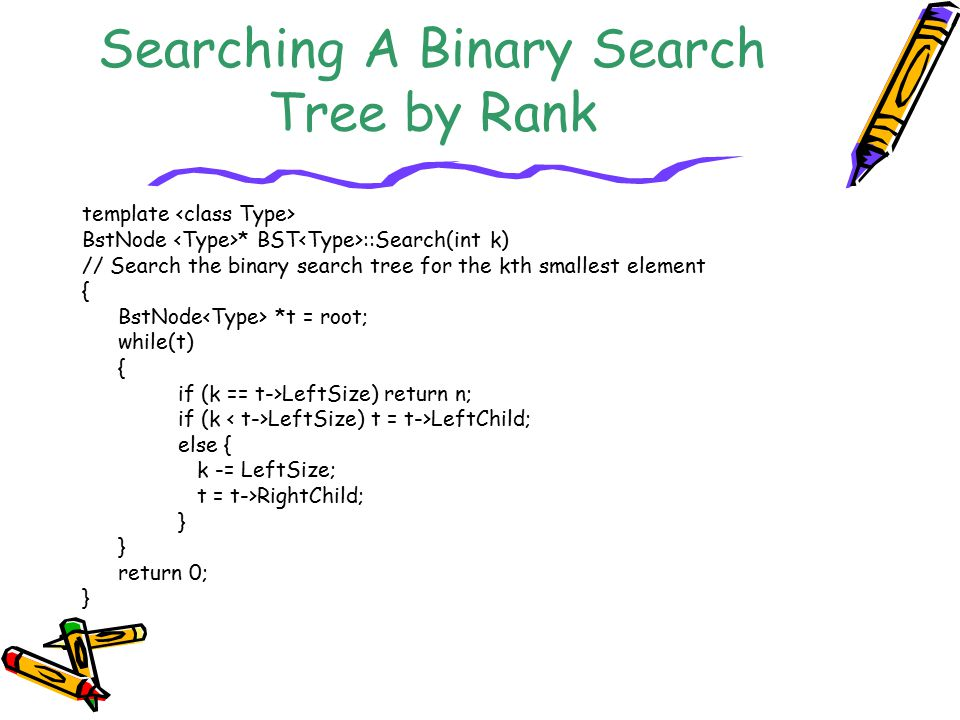 Searching A Binary Search Tree by Rank