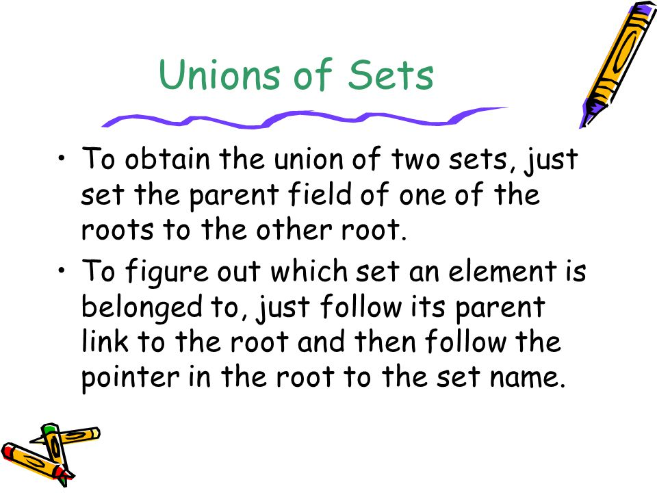 Unions of Sets To obtain the union of two sets, just set the parent field of one of the roots to the other root.