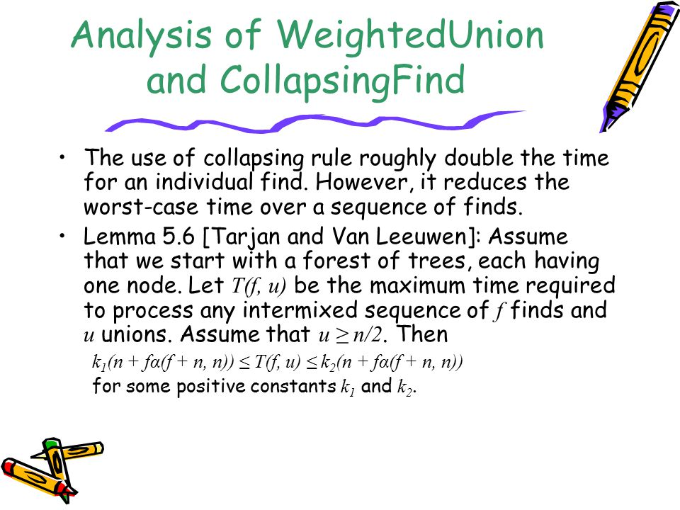 Analysis of WeightedUnion and CollapsingFind