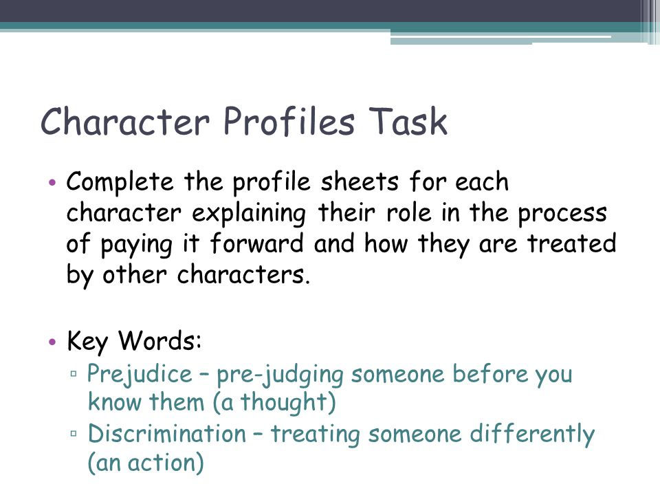 Character Profiles Task