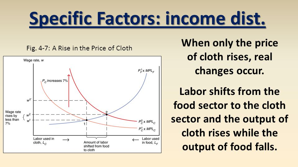 Specific Factors: income dist. of cloth rises, real changes occur.