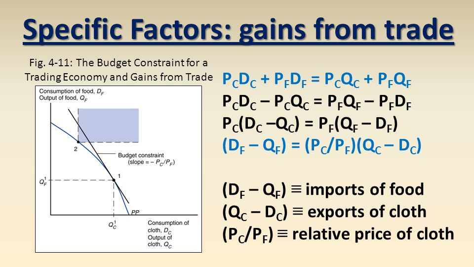 Specific Factors: gains from trade