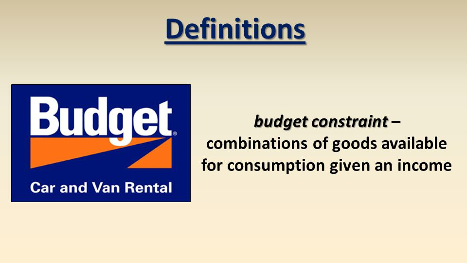 combinations of goods available for consumption given an income