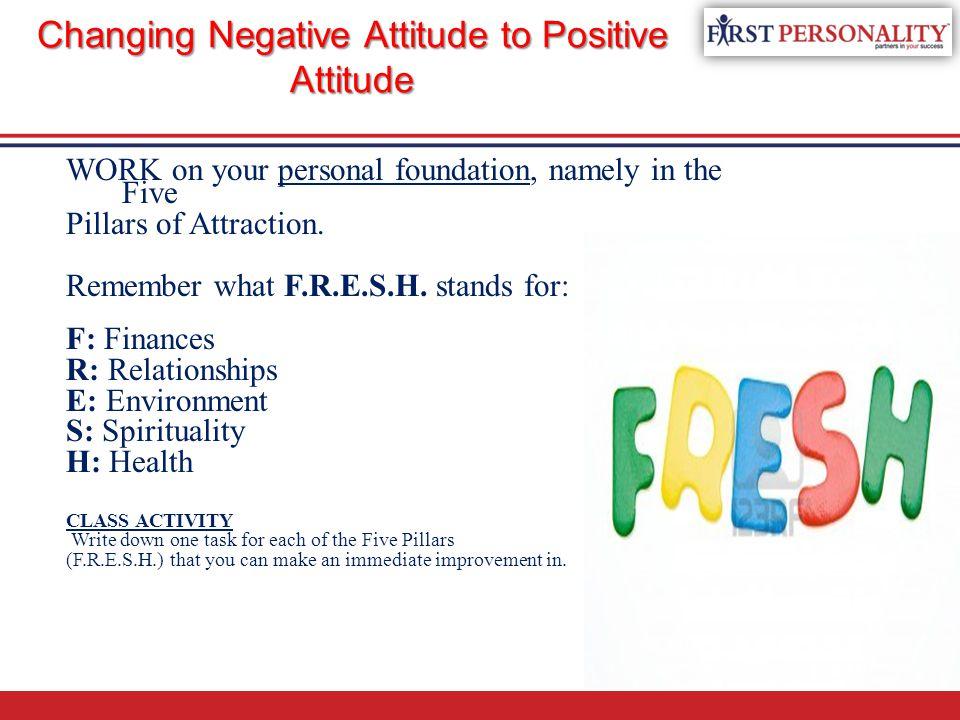 Changing Negative Attitude to Positive Attitude