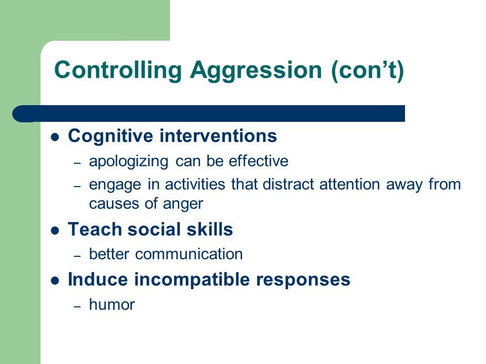 Controlling Aggression (con't)