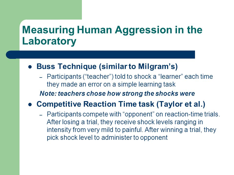 Measuring Human Aggression in the Laboratory