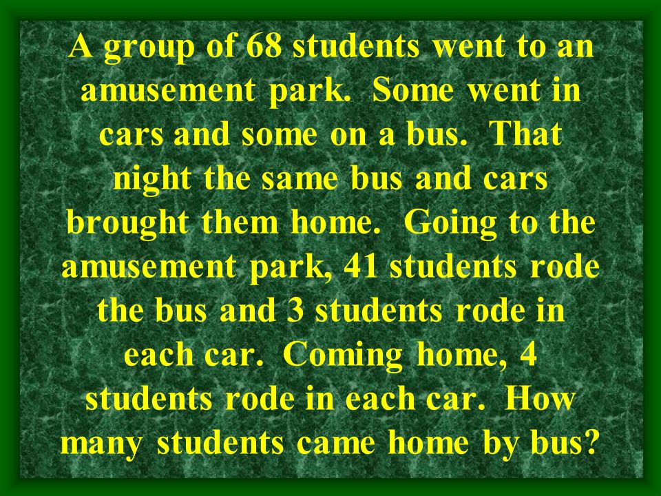 A group of 68 students went to an amusement park