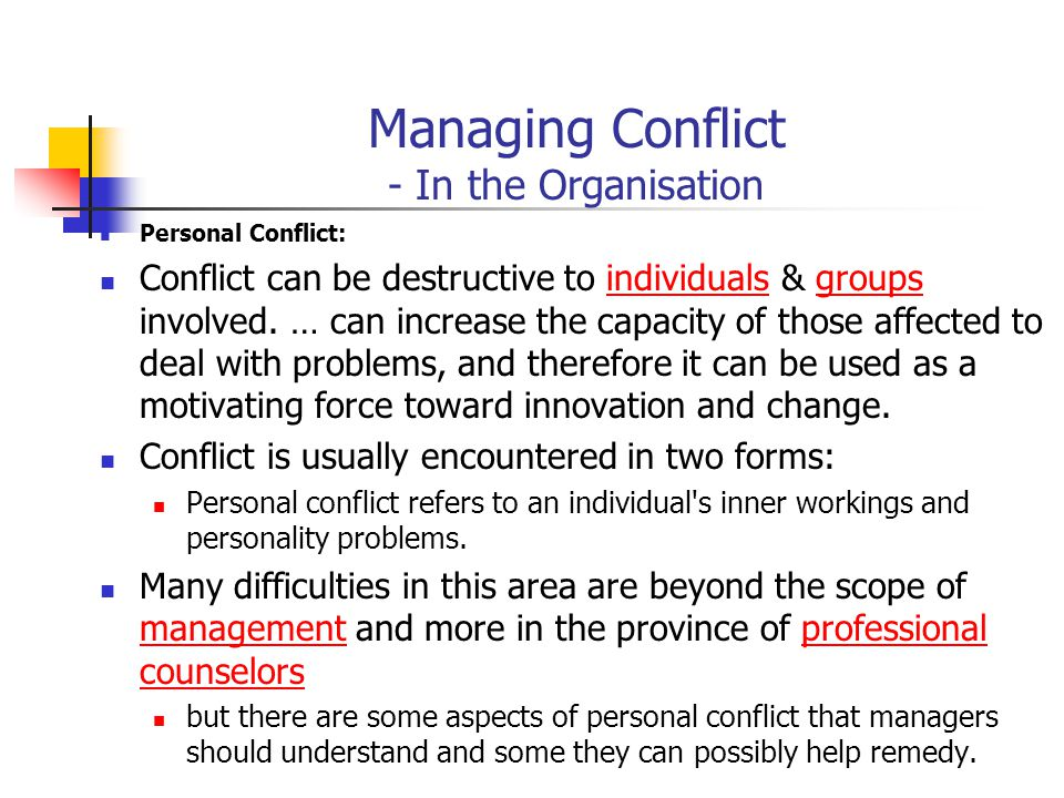 Managing Conflict - In the Organisation