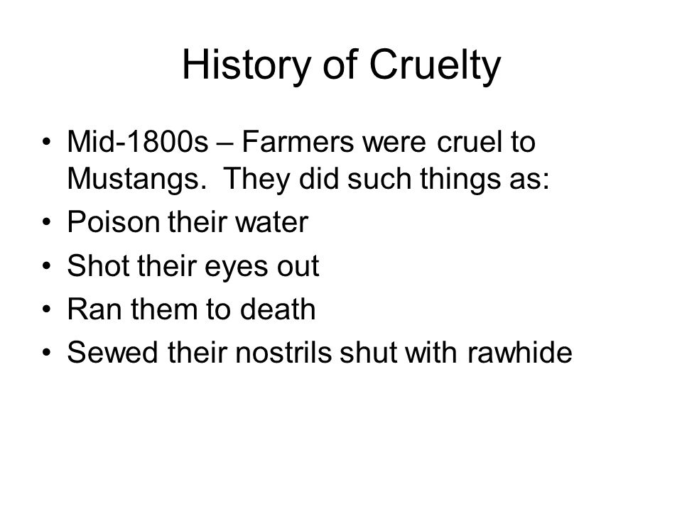 History of Cruelty Mid-1800s – Farmers were cruel to Mustangs. They did such things as: Poison their water.