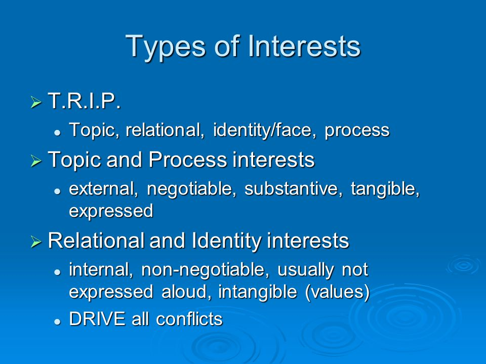 Types of Interests T.R.I.P. Topic and Process interests