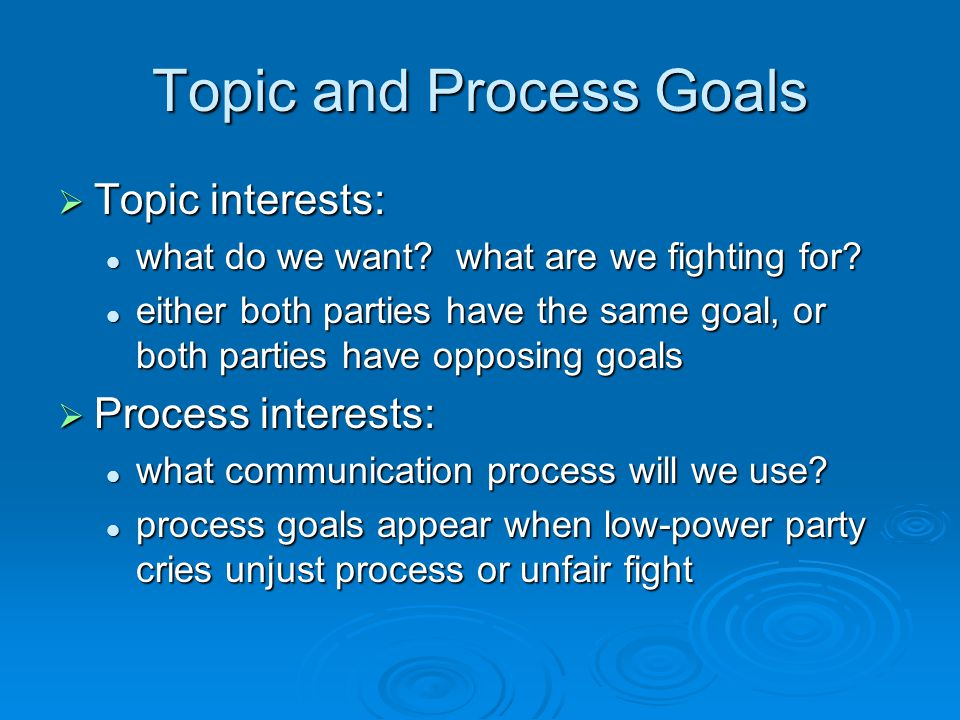 Topic and Process Goals