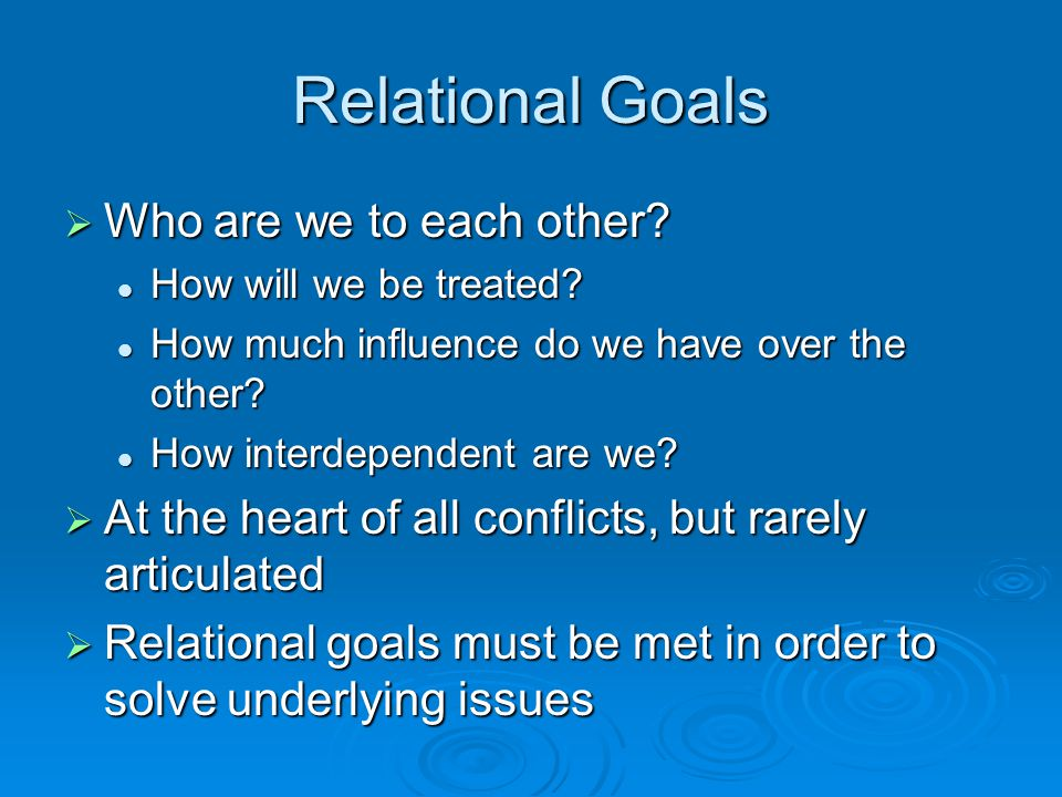 Relational Goals Who are we to each other