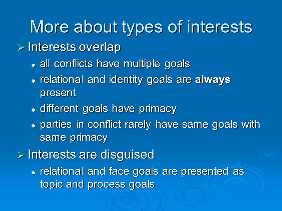 More about types of interests