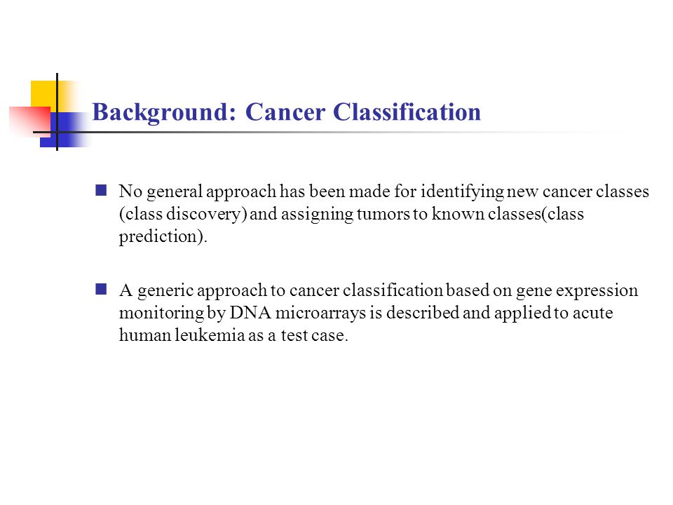 Background: Cancer Classification