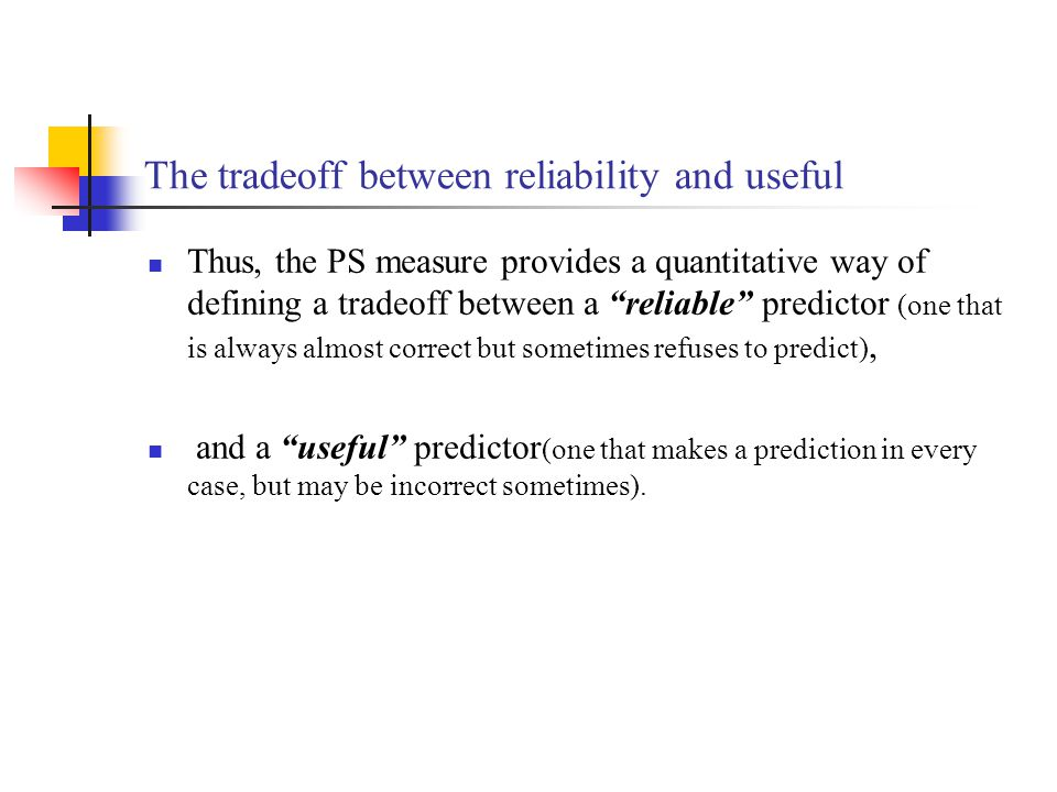 The tradeoff between reliability and useful