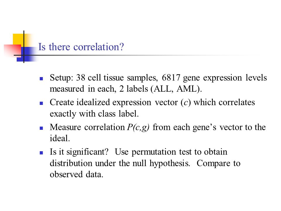 Is there correlation Setup: 38 cell tissue samples, 6817 gene expression levels measured in each, 2 labels (ALL, AML).