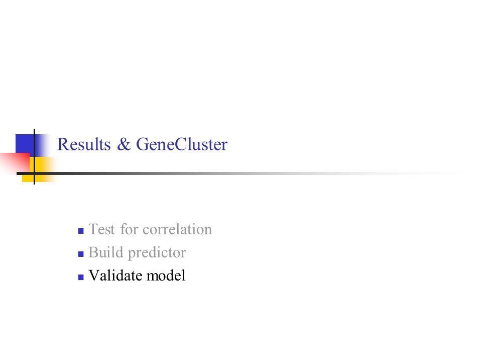 Test for correlation Build predictor Validate model