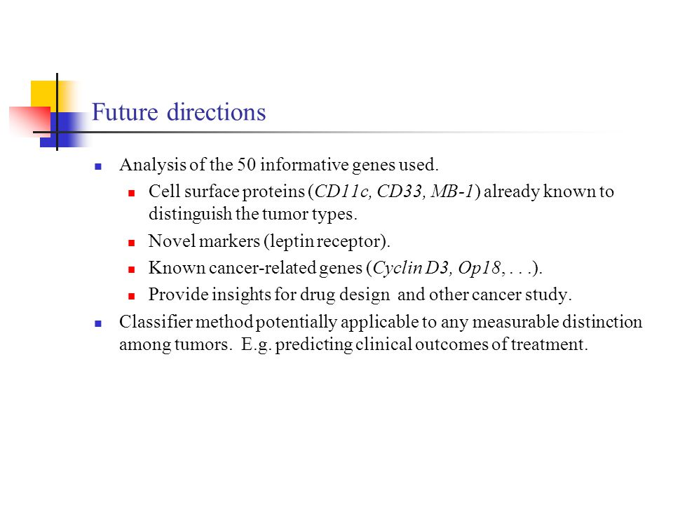 Future directions Analysis of the 50 informative genes used.