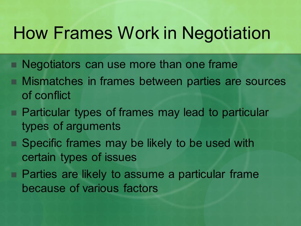 How Frames Work in Negotiation