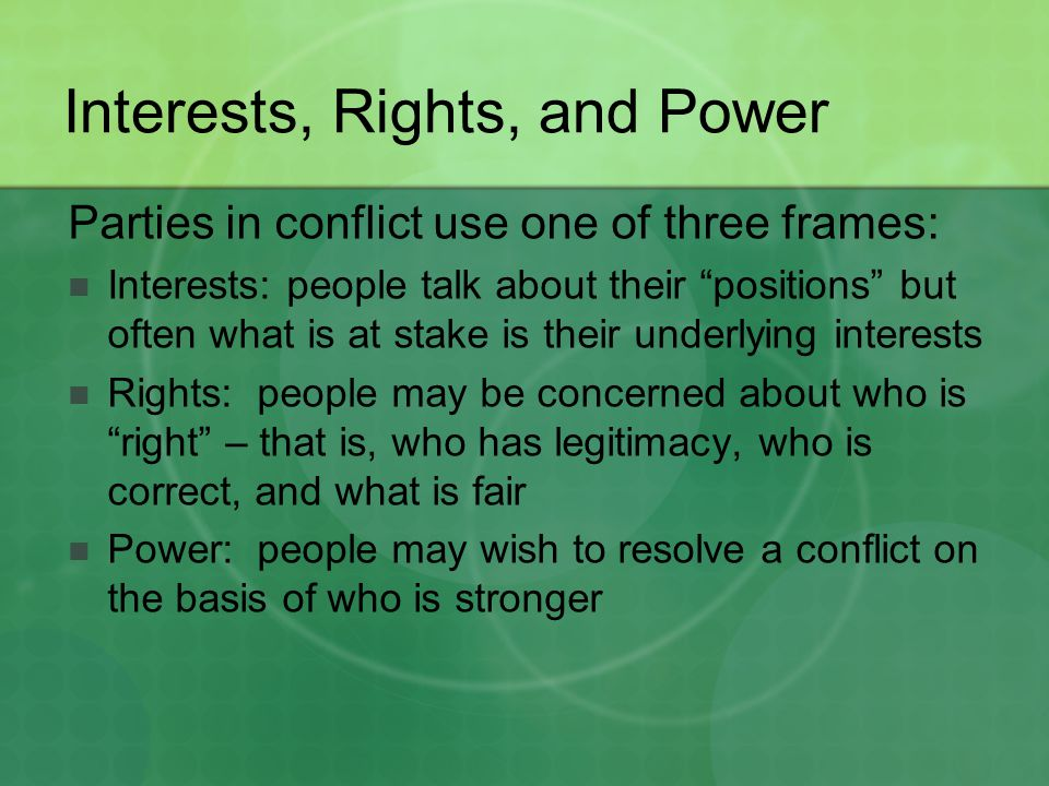 Interests, Rights, and Power