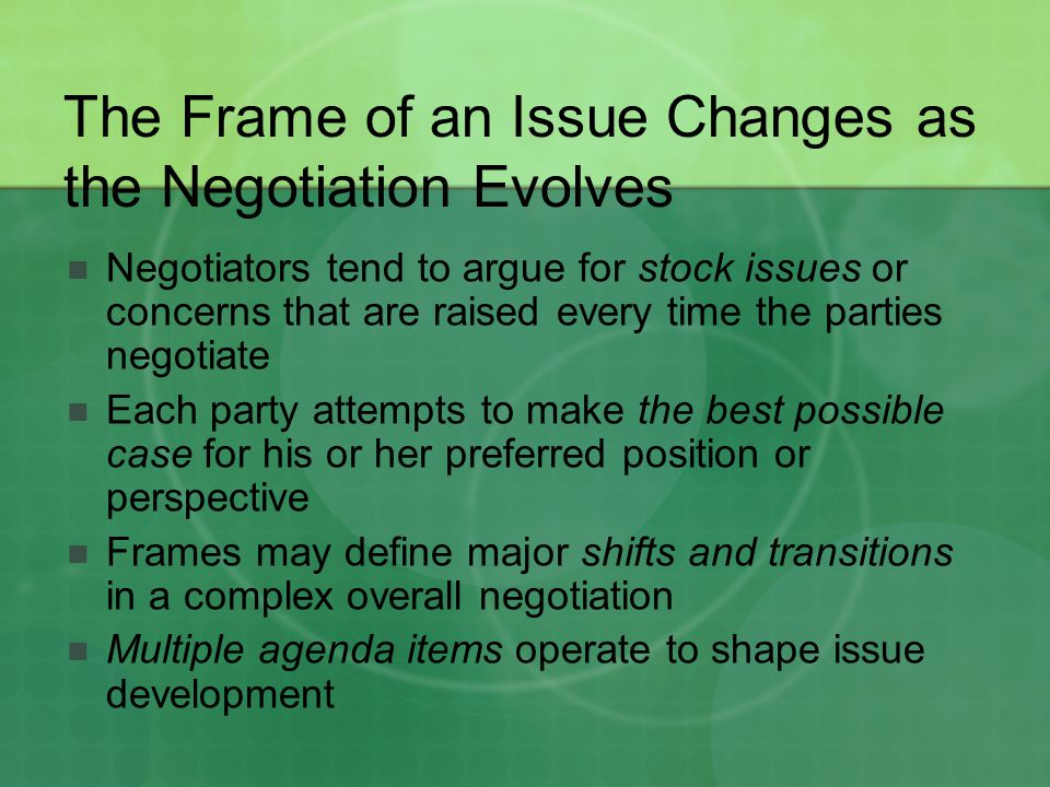 The Frame of an Issue Changes as the Negotiation Evolves