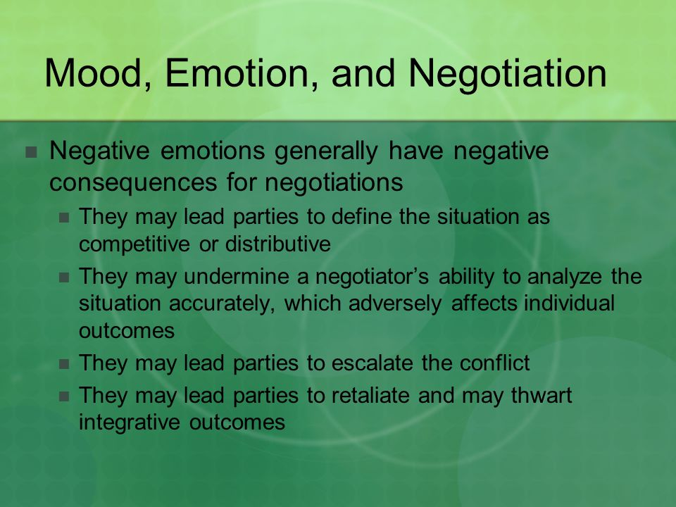 Mood, Emotion, and Negotiation