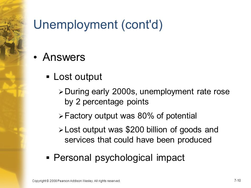 Unemployment (cont d) Answers Lost output
