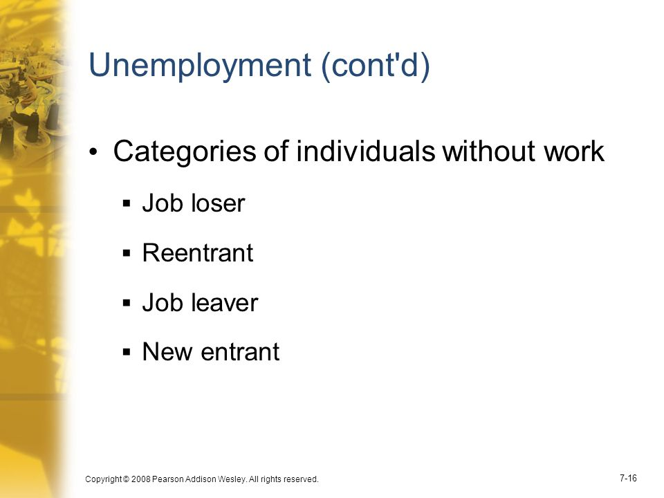 Unemployment (cont d) Categories of individuals without work Job loser