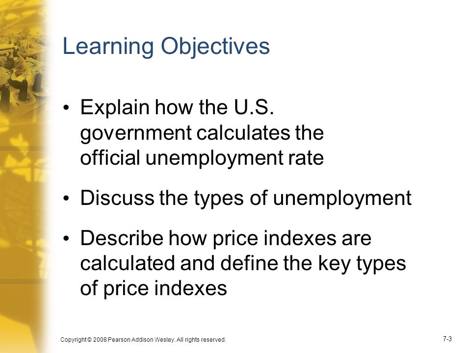 Learning Objectives Explain how the U.S. government calculates the official unemployment rate. Discuss the types of unemployment.