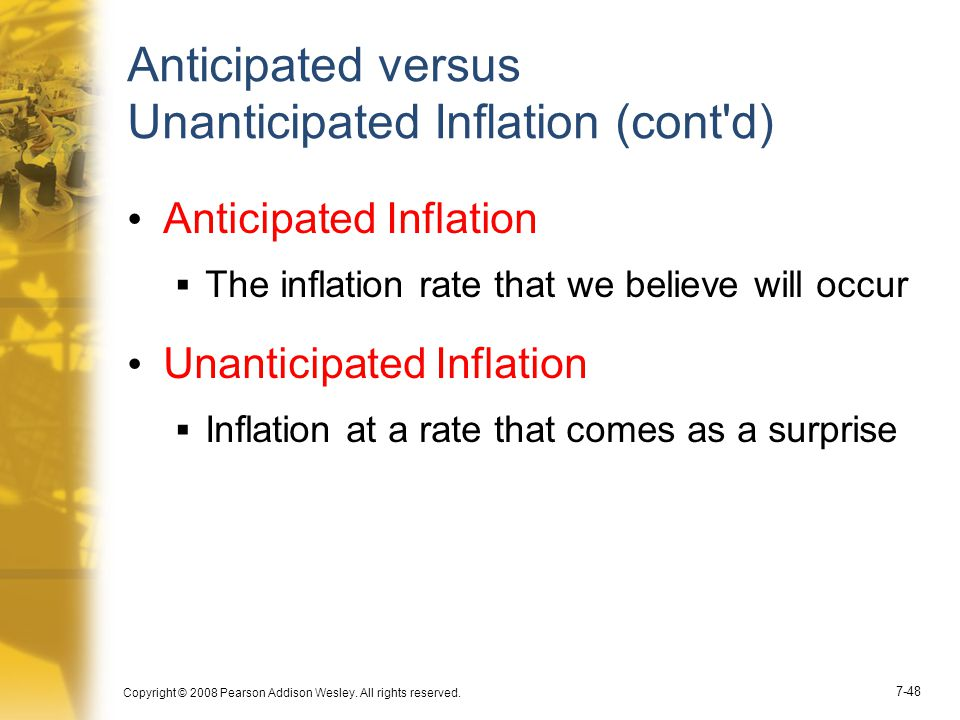 Anticipated versus Unanticipated Inflation (cont d)