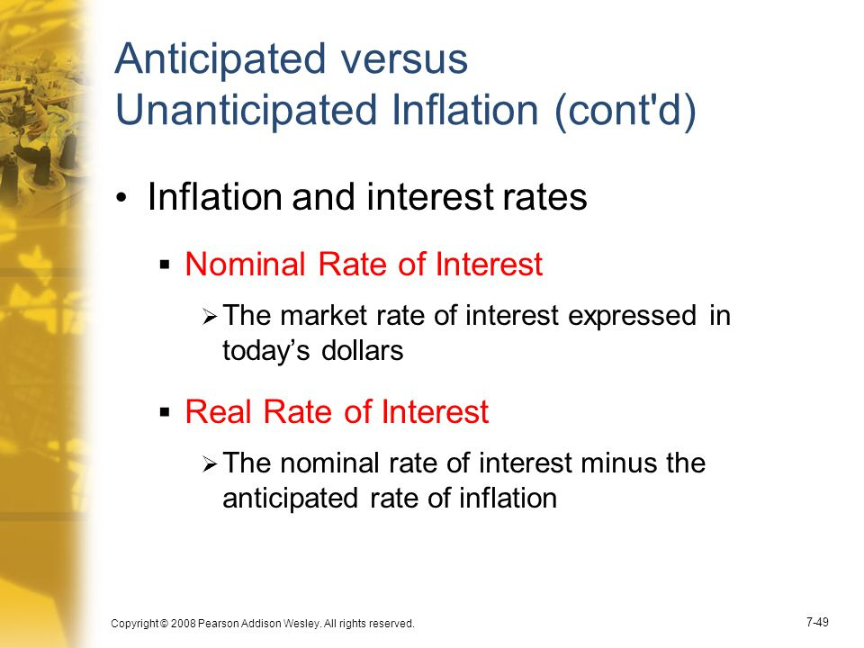 Anticipated versus Unanticipated Inflation (cont d)