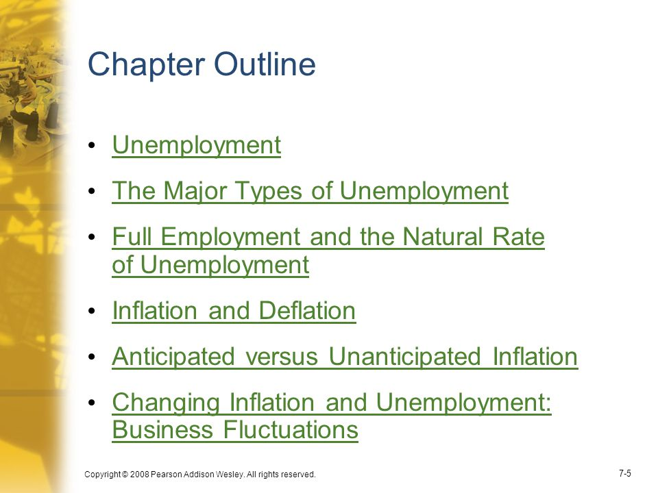 Chapter Outline Unemployment The Major Types of Unemployment
