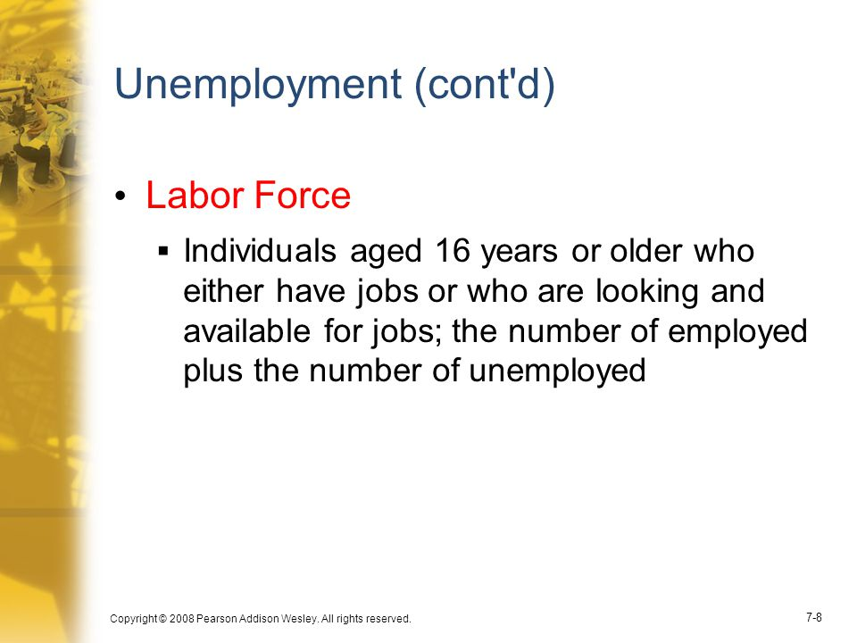 Unemployment (cont d) Labor Force