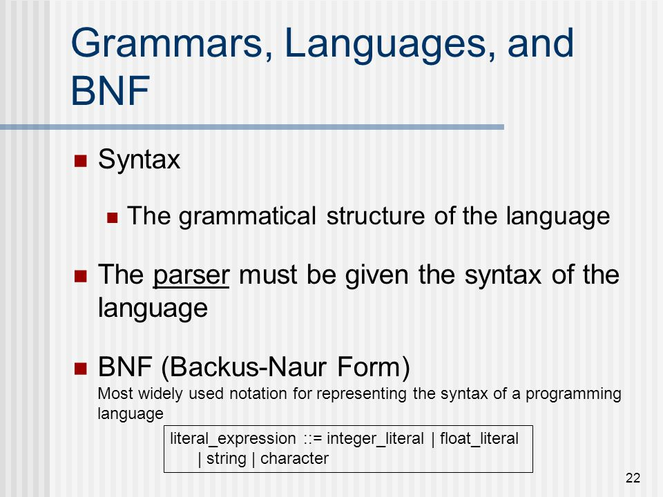 Grammars, Languages, and BNF