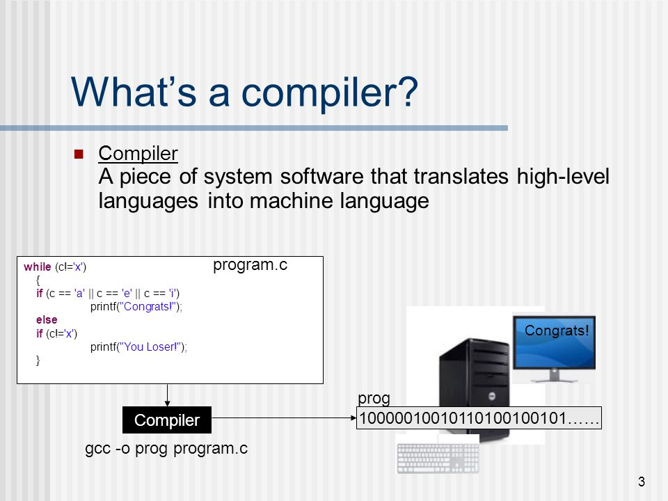What's a compiler Compiler A piece of system software that translates high-level languages into machine language.