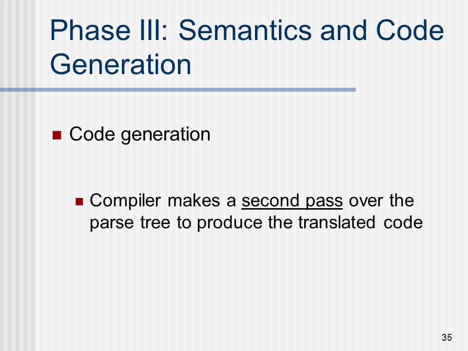 Phase III: Semantics and Code Generation