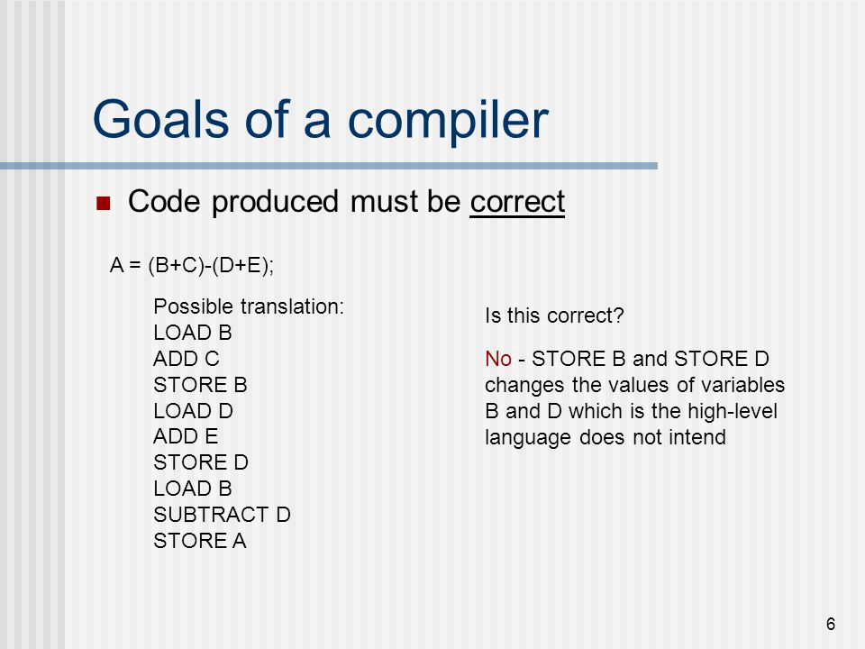 Goals of a compiler Code produced must be correct A = (B+C)-(D+E);