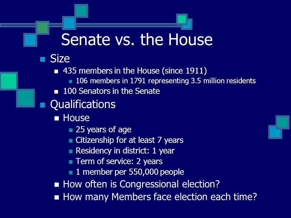 Senate vs. the House Size Qualifications House