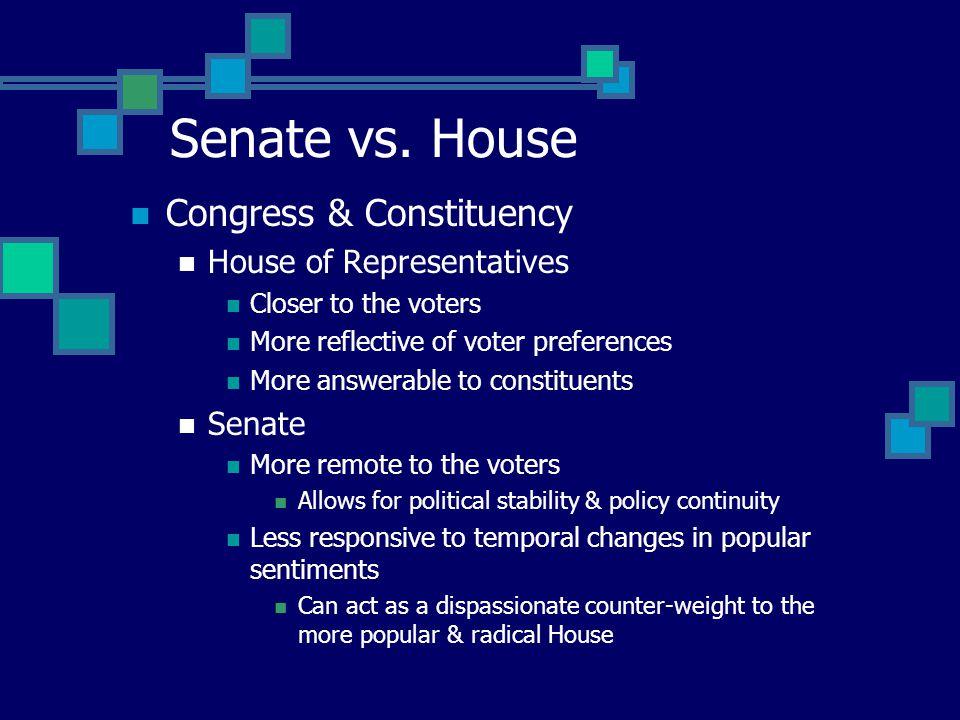 Senate vs. House Congress & Constituency House of Representatives