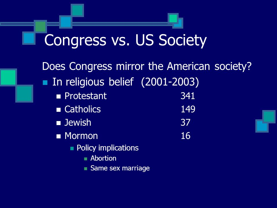 Congress vs. US Society Does Congress mirror the American society