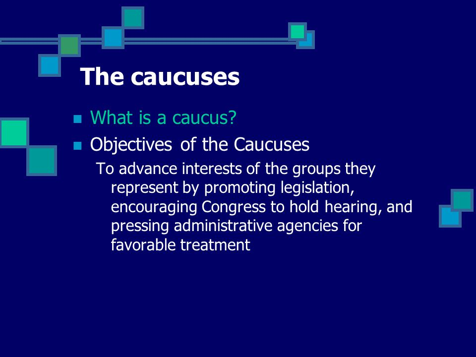 The caucuses What is a caucus Objectives of the Caucuses