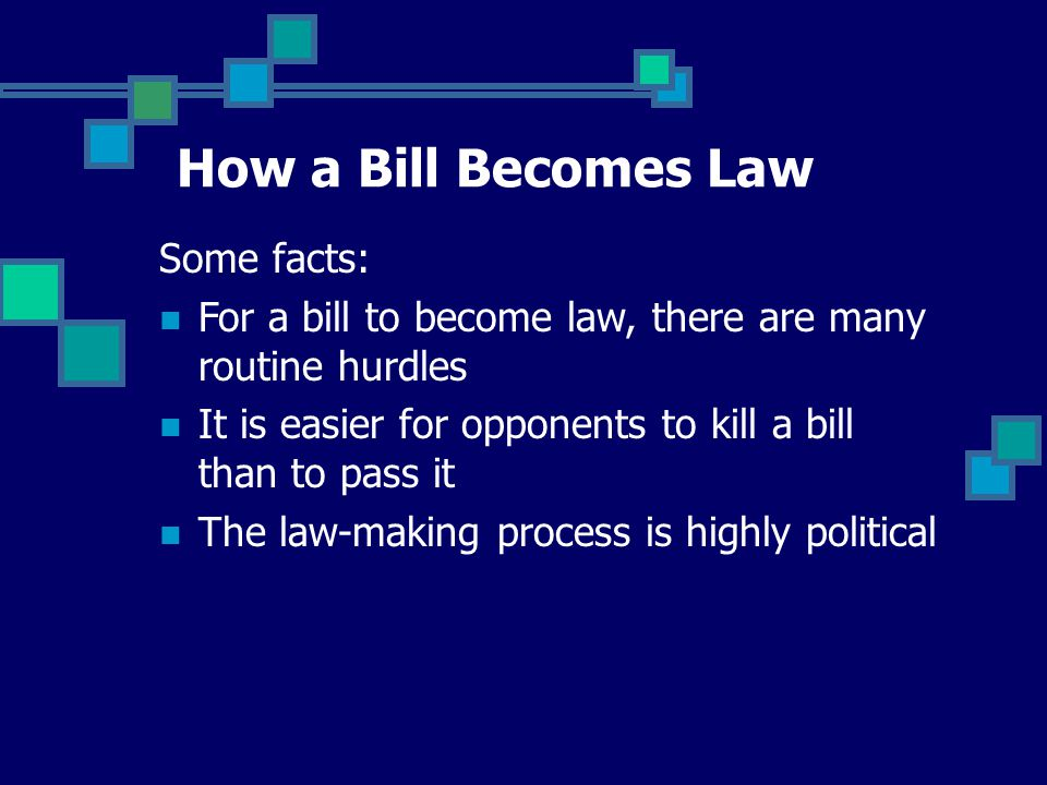 How a Bill Becomes Law Some facts: