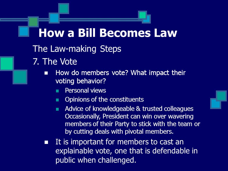 How a Bill Becomes Law The Law-making Steps 7. The Vote